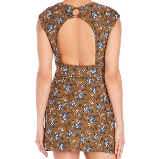 Free People Open Back Crew Neck Cap Sleeve Keyhole Print Dress Image 2