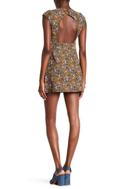 Free People Open Back Crew Neck Cap Sleeve Keyhole Print Dress Image 7