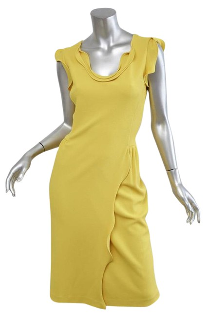Item - Yellow Knit Sleeveless Ruffle Scoopneck Cocktail Short Casual Dress Size 6 (S)