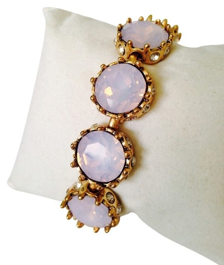 Anne Klein 2-Piece Set, Faceted Pink Iridescent & Crystal Bracelet & Earrings Image 1