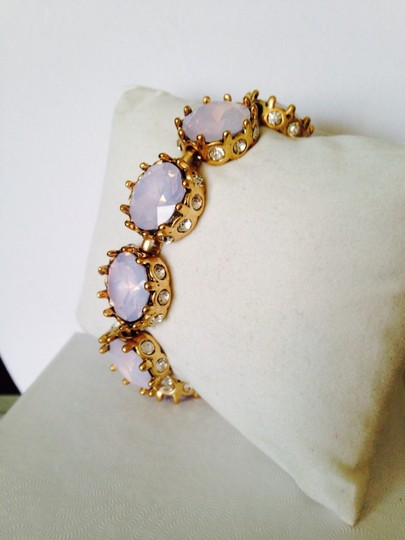 Anne Klein 2-Piece Set, Faceted Pink Iridescent & Crystal Bracelet & Earrings Image 2
