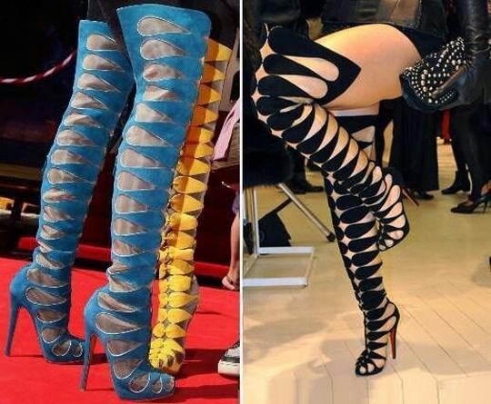 Christian Louboutin Pumps Thigh High Over The Knee Black Boots Image 10