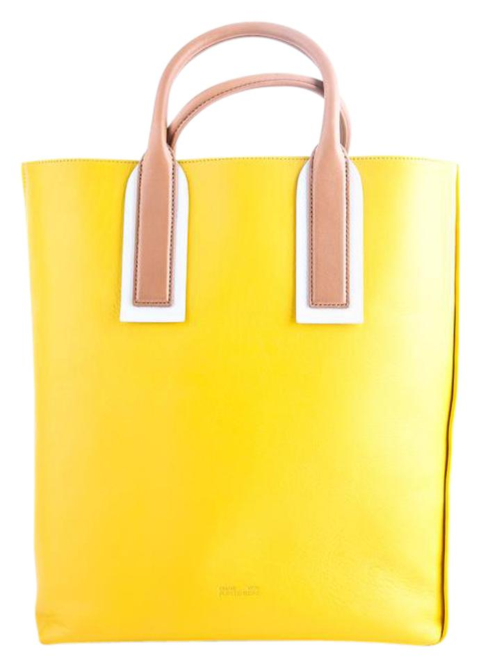 Yellow Leather Origami Tote