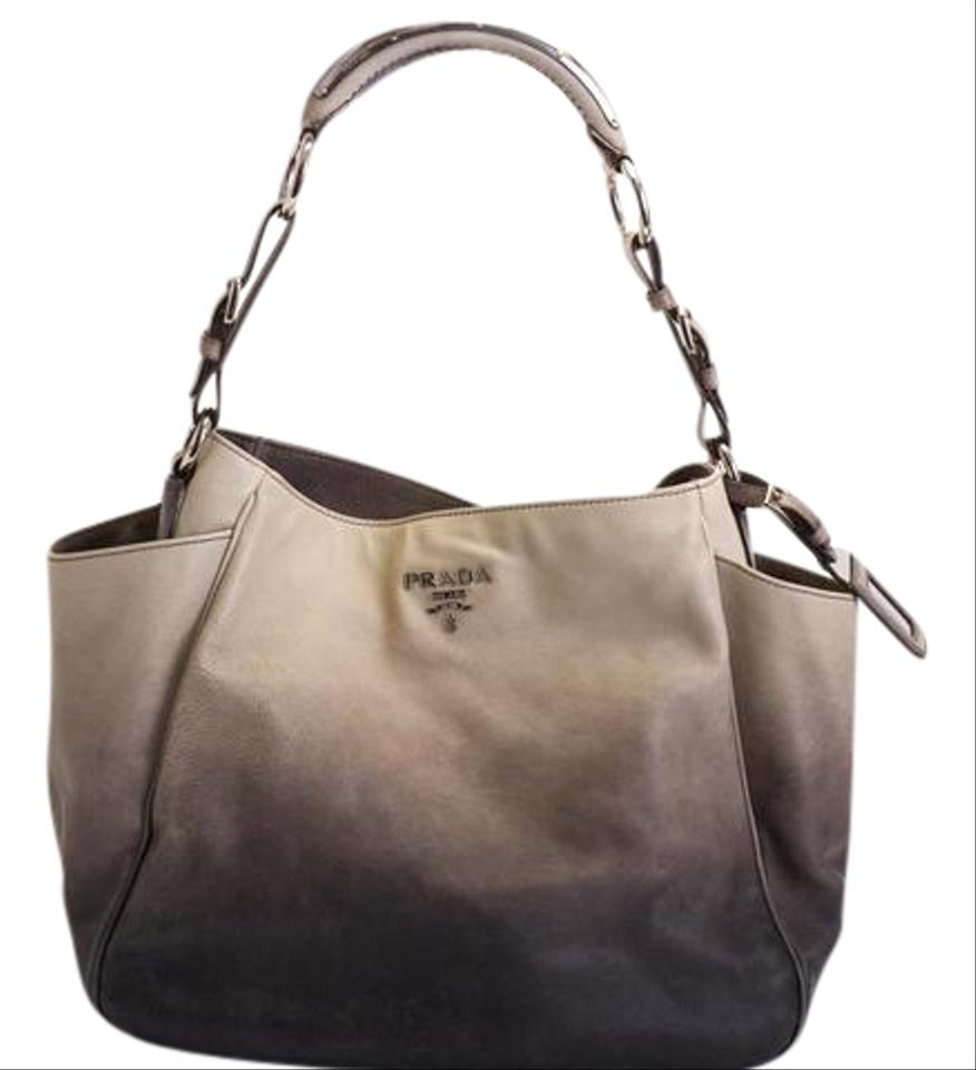 6c295dc9f5b4 Prada Glace Calf 1 Gradient Grey Calfskin Leather Shoulder Bag - Tradesy