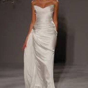 Romona Keveza White Satin/Silk Collection Sexy Wedding Dress Size 4 (S)
