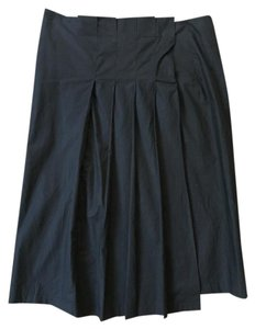 Prada Pleated Snap Front Cotton Skirt