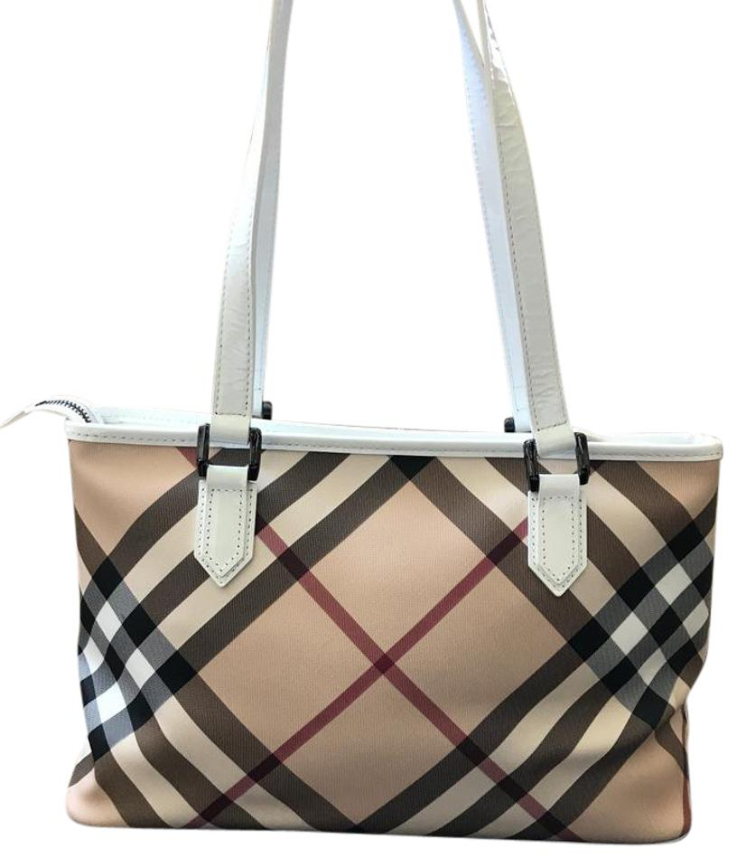 Burberry Nova Check Shopper White  Beige  Black  Red Patent Leather and  Jacquard Canvas Shoulder Bag ab7f56afab1f5