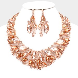 Peach Rose Gold Striking and Rhinestone Crystal Statement Necklace Jewelry Set