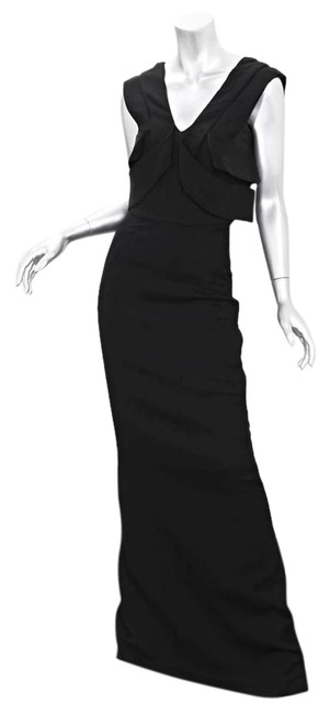 Item - Black Wool+silk Sleeveless V-neck Mermaid Evening Gown Long Formal Dress Size 2 (XS)