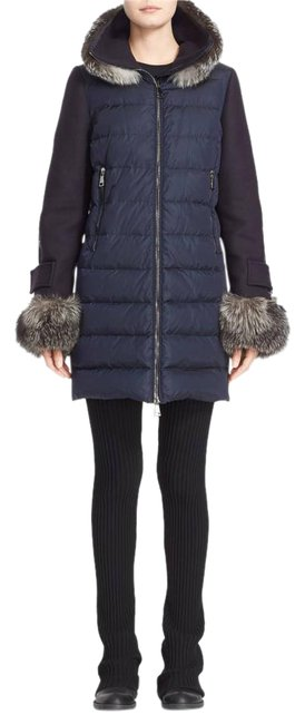 Item - Blue Elestoria Goose Down & Feather Filled Fox Fur Trim Puffer Jacket Coat Size 8 (M)