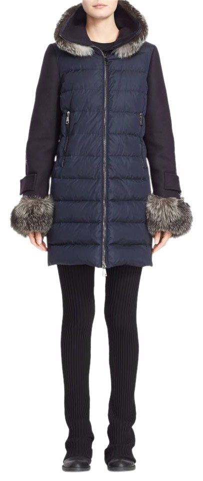 6d4c83a7360 Moncler Blue Elestoria Goose Down & Feather Filled Fox Fur Trim Puffer Jacket  Coat