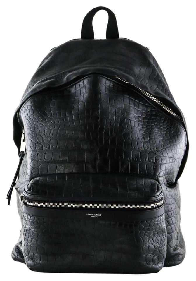 Embossed Leather City Backpack Crocodile Black Saint Laurent Classic 1cWOwvq1BX