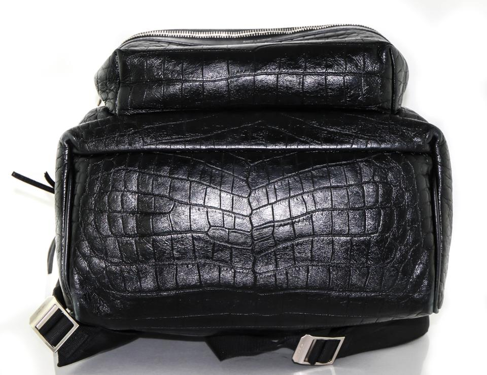 Embossed Classic Black Saint Laurent City Backpack Leather Crocodile q1pgAn