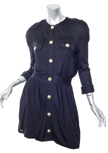 Item - Black Knit Quilted Patch Pocket Long-sleeve Shirt-dress Short Casual Dress Size 4 (S)
