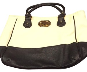 deux lux Tote in black, cream, gold accents