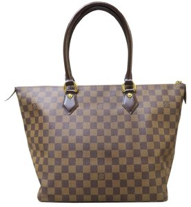 Louis Vuitton Lv Mm Damier Ebene Saleya Canvas Tote in brown