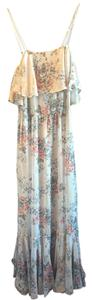pale eggshell blue/grey with floral print Maxi Dress by Beyond Vintage