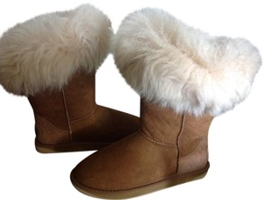 Australia Luxe Collective Genuine Shearling Suede Shearling Cuff Chestnut Boots