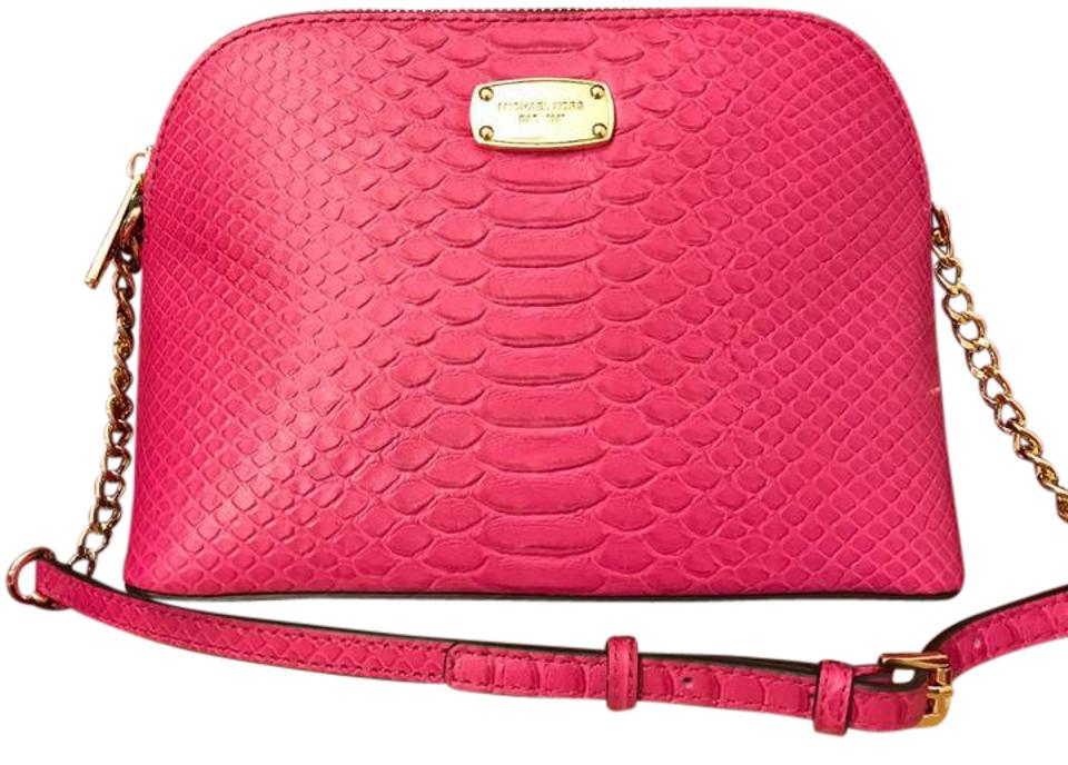 e31b5d61fa39 Michael Kors Cindy Large Dome Embossed Pink Leather Cross Body Bag ...