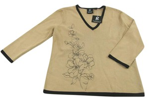 Grace Elements V Neck Knit Floral Tan 8 Black 3/4 Sleeve Stretch Embroidered New Shirt Sweater