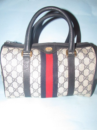 Gucci Great Everyday Boston Classic Gac Style Excellent Vintage Red/Blue Stripe Satchel in HOLD FOR AM!!