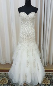 Mori Lee Ivory Embroidery 2691 Formal Wedding Dress Size 12 (L)