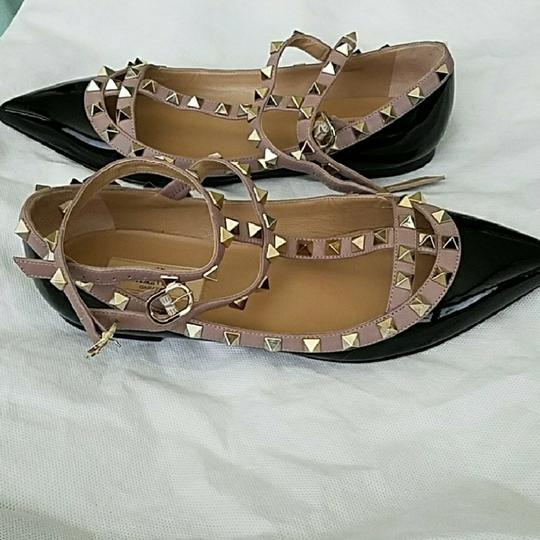 Valentino Black and nude with gold studs Flats