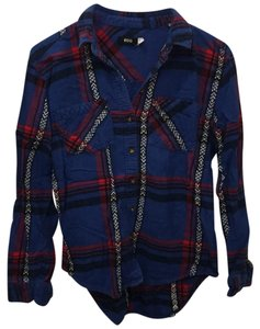 Urban Outfitters Button Down Shirt blue and red