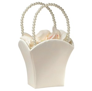 Plain Pearl Handle Ivory Flower Basket With Bead Handles Ivory Theme