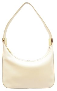 St. John Cream Leather Hobo Baguette Gold Hardware Rare Shoulder Bag