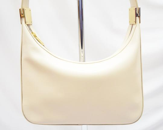 St. John Cream Leather Hobo Baguette Gold Hardware Rare Shoulder Bag Image 1