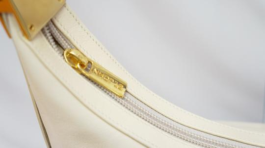 St. John Cream Leather Hobo Baguette Gold Hardware Rare Shoulder Bag Image 3