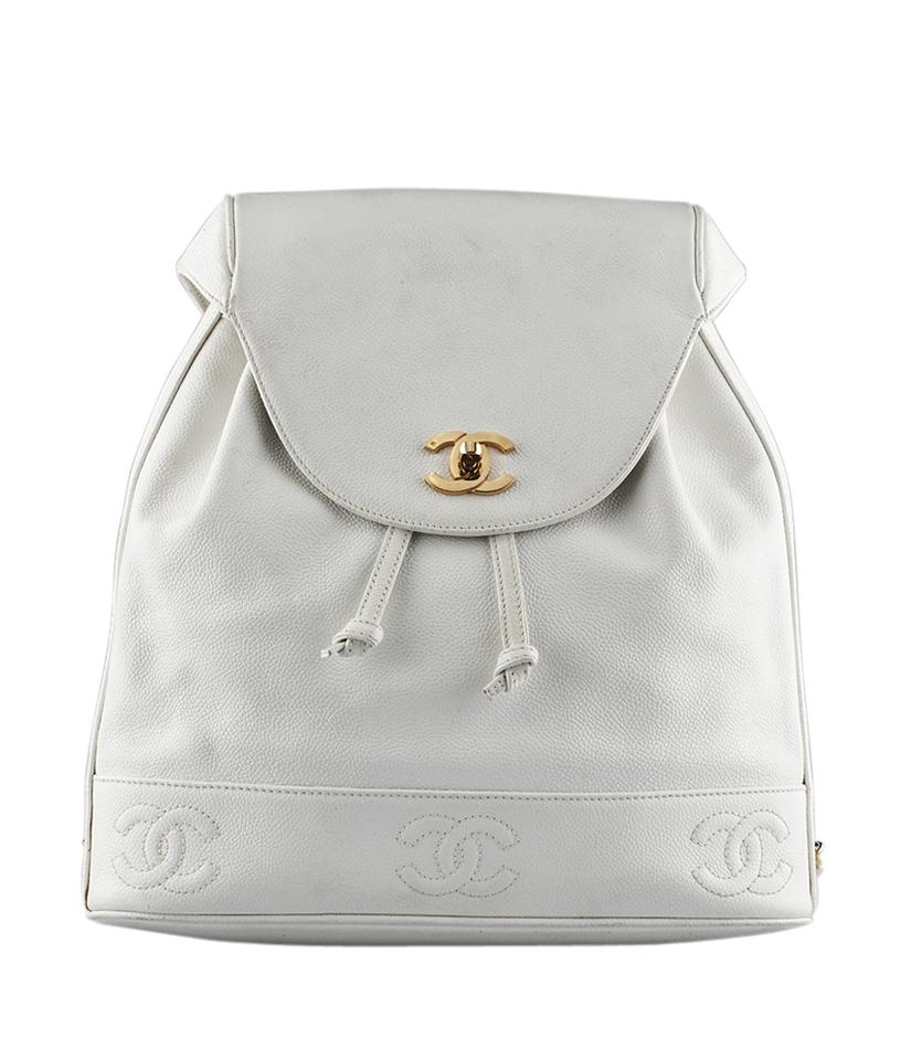 Chanel Chanel Vintage White Caviar Leather Backpack (130599) Image 0 ... 6ce9cb35560b1