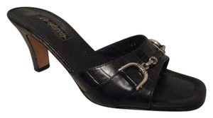Brighton Leather Croc Slides Hcrr black Sandals