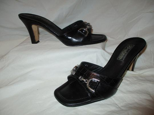 Brighton Leather Croc Slides Hcrr black Sandals Image 1