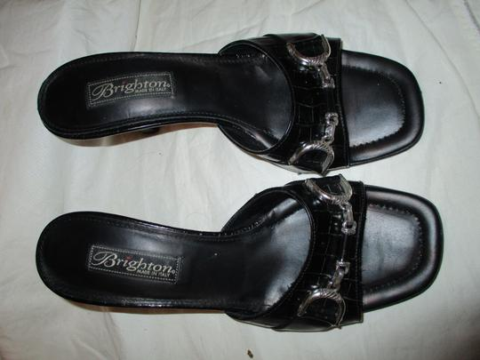 Brighton Leather Croc Slides Hcrr black Sandals Image 4