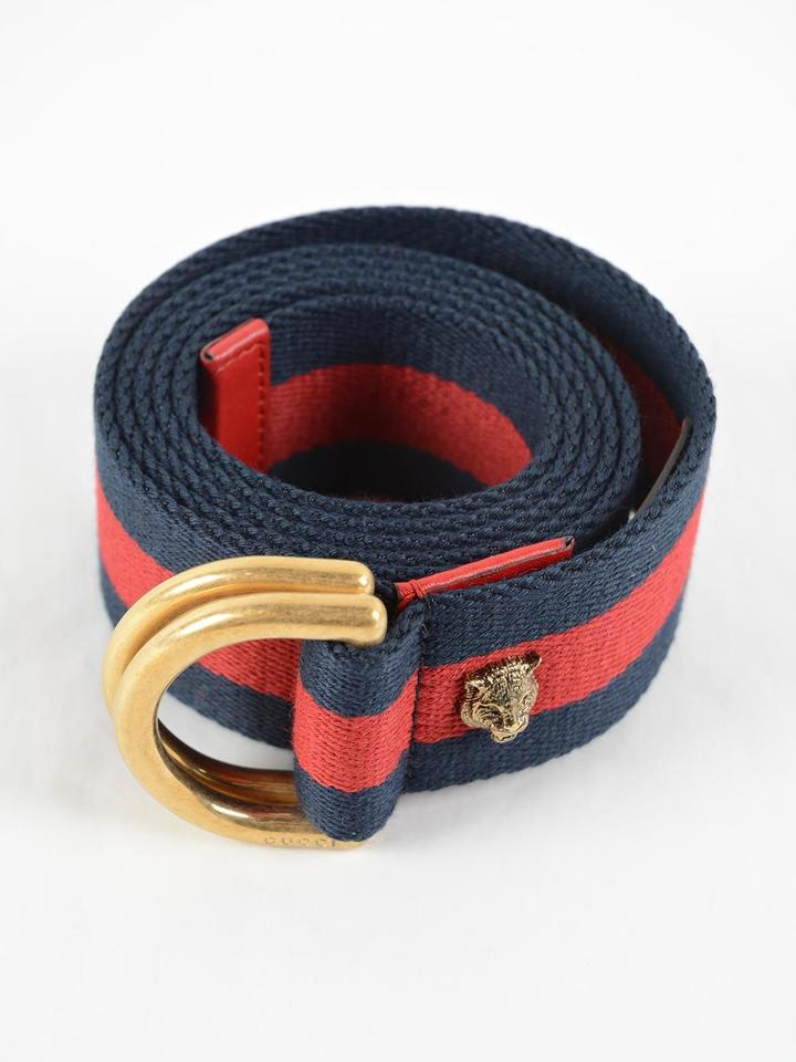 9fd9110d1cd Gucci Blue and Red D Ring Web Size 75 Belt - Tradesy