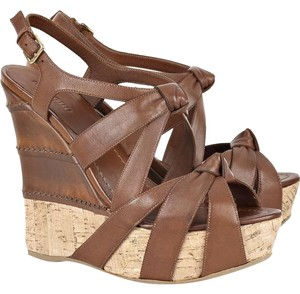 Miu Miu Cork Leather Wedge Sandal Brown & Tan Platforms