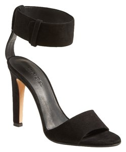 Vince Gita Suede Ankle Buckle Open Toe Black Sandals
