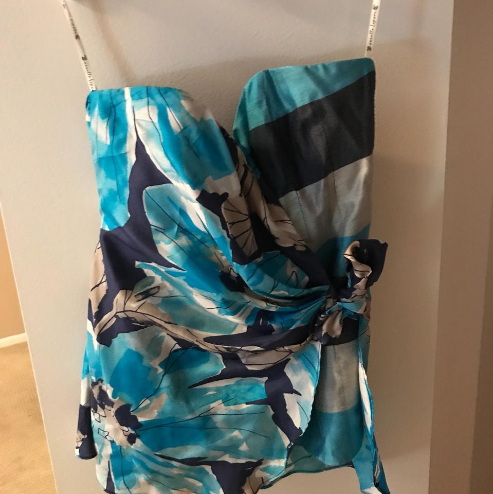 Check Top and Lepore Tie Material Around Floral Night Tube Wrap Nanette with Blue Out Blue 6xEtdwwPRq