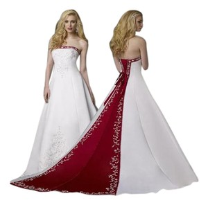 Alfred Angelo White/Claret Satin Embroidery 1516 Formal Wedding Dress Size 14 (L)