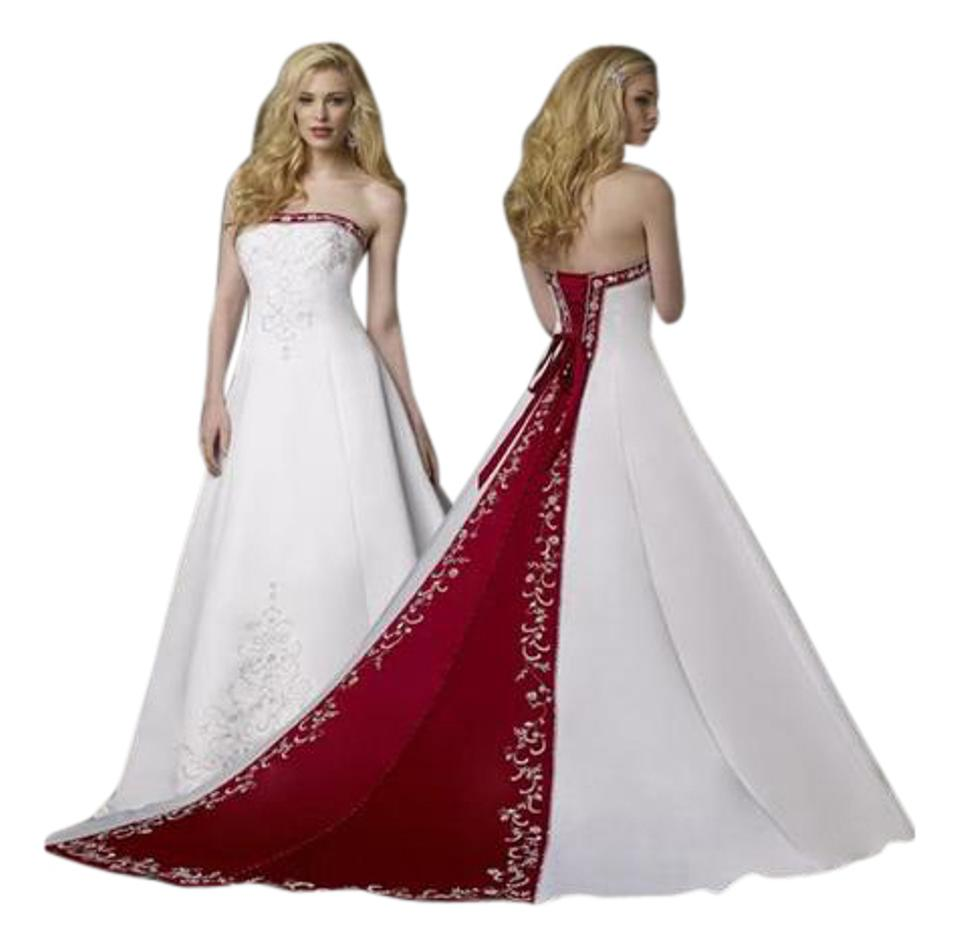 abb4993274 Alfred Angelo White Claret Satin Embroidery 1516 Formal Wedding Dress Size  14 (L) ...
