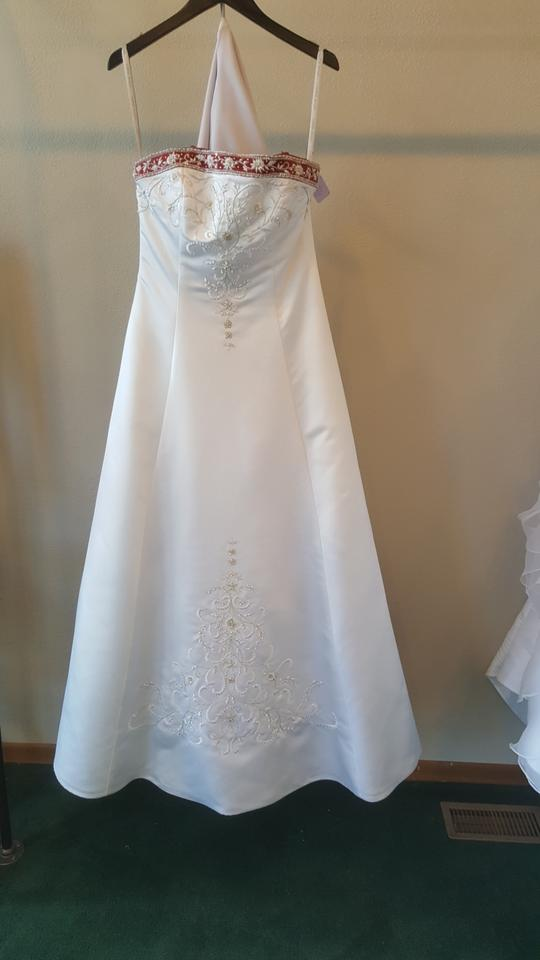 5bba5a816f6 Alfred Angelo White Claret Satin Embroidery 1516 Formal Wedding Dress Size  14 (L). 123456