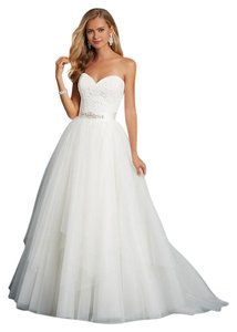 Alfred Angelo Ivory Lace and Netting 2606 Feminine Wedding Dress Size 12 (L)