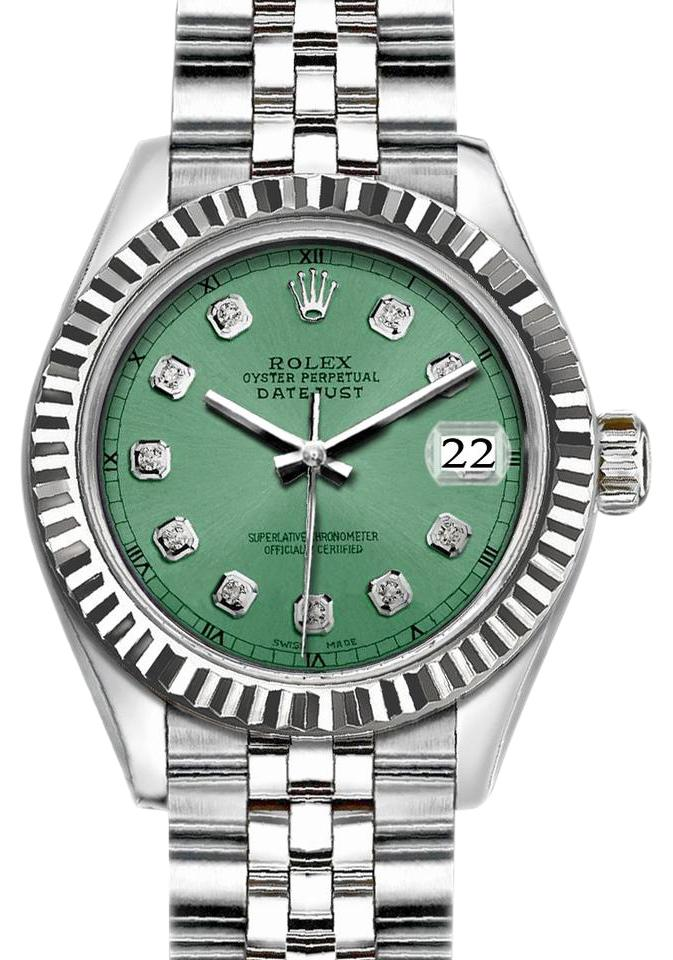 Rolex Silver and Light Green 36mm Datejust with Diamond Dial Watch 67% off  retail