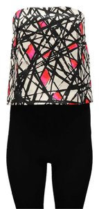 MILLY Top Black/Pink/White