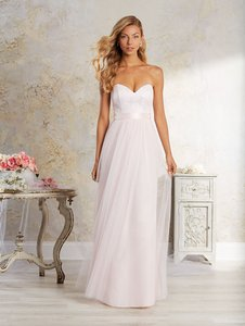 Alfred Angelo Ivory/ Ballerina Pink Netting A-line Strapless Sweetheart Neckline 8639 Feminine Bridesmaid/Mob Dress Size 8 (M)