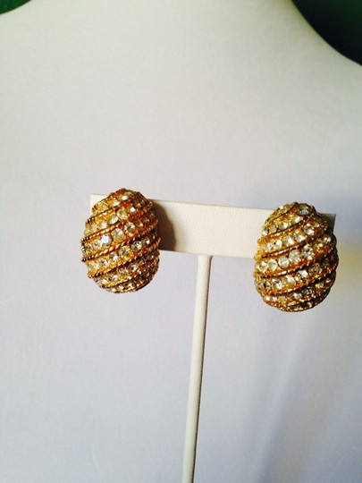 My Closet- Embellished by Leecia Gold-Tone Rope Twist & Crystal Stud Earrings