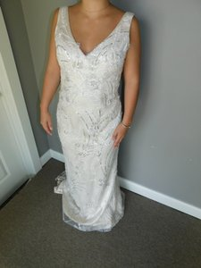 Maggie Sottero Ivory Light Gold Pewter Finley Vintage Wedding Dress Size 10 (M)