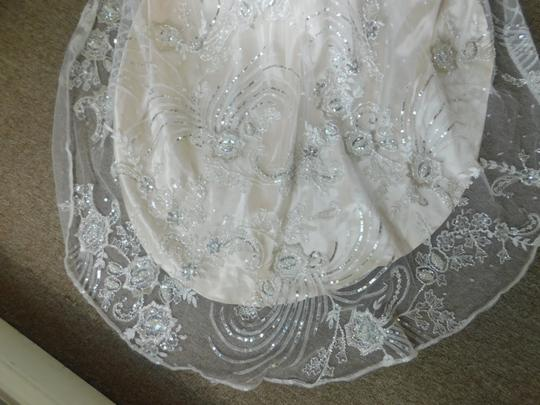 Maggie Sottero Ivory Light Gold Pewter Finley Vintage Wedding Dress Size 10 (M) Image 10
